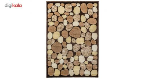 فرش ماشینی سهند کد C036.XO طرح سنگی زمینه گردوئی