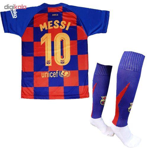ست لباس ورزشی پسرانه طرح بارسلونا کد ۲۰۱۹