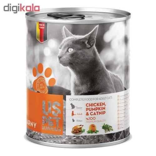 کنسرو غذای گربه یو اس پت مدل chicken with catnip مقدار 400 گرمی