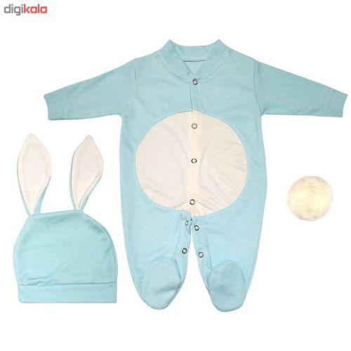 ست سرهمی و کلاه نوزادی طرح خرگوش کد M210