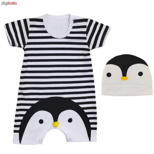 ست سرهمی و کلاه نوزادی طرح پنگوئن کد a55