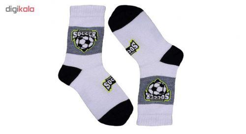 جوراب پسرانه طرح توپ فوتبال مجموعه ۳ عددی